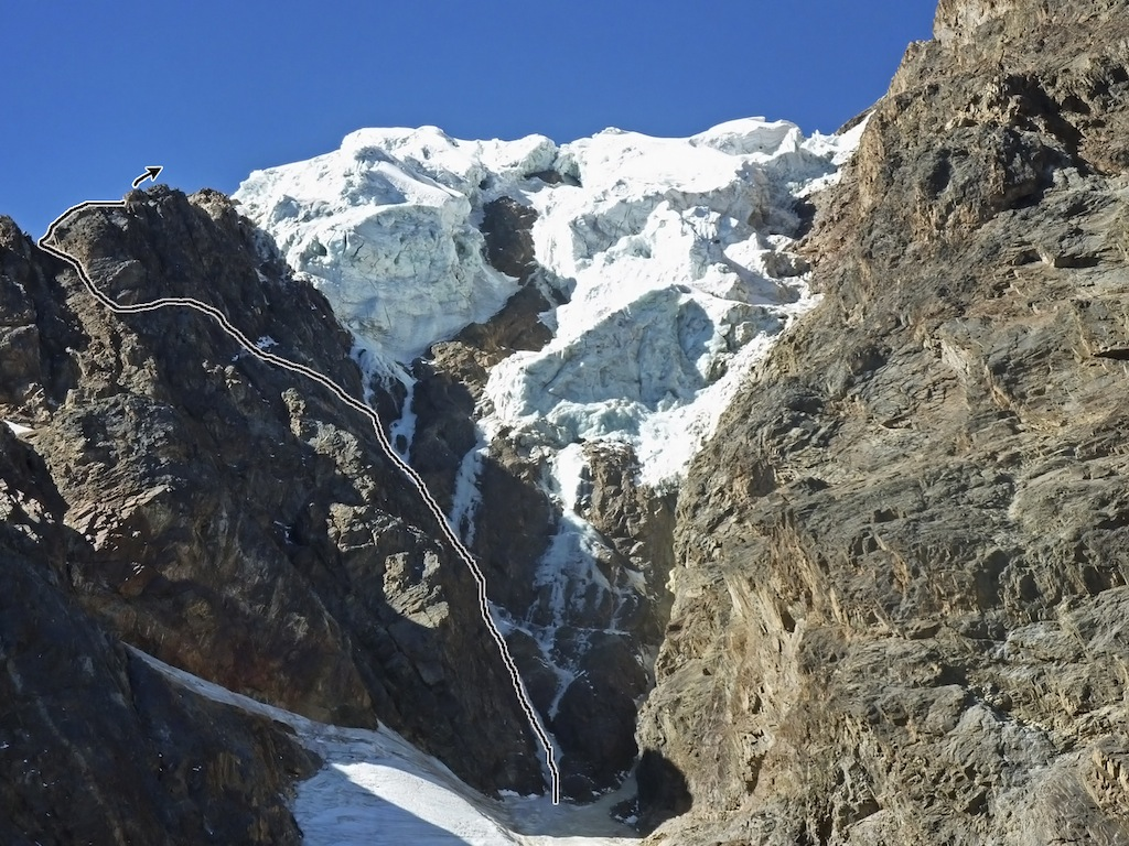 The start to the new route on the south face of Illimani.