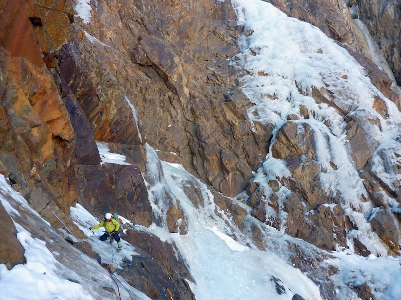 Florian Hill traversing low on the south face of Illimani, where he and Robert Rauch established a new route.