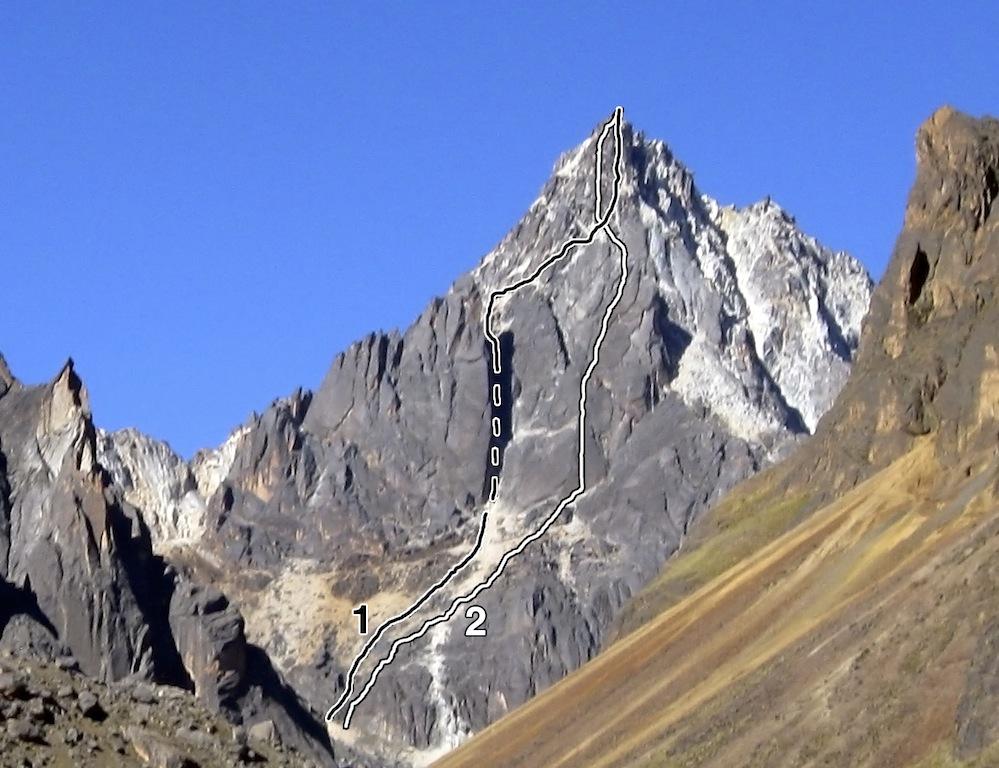 Saturno from the west: (1) Camino de la Luna y del Sol (Calisaya- Pratt). (2) Plaza Alonso de Mendoza (Garrison-Phillips).