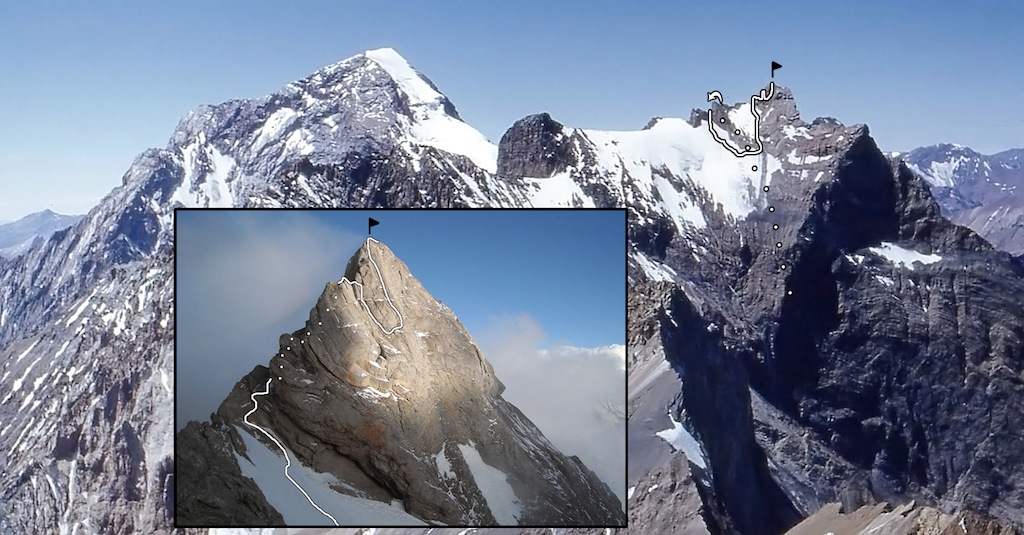 The remote Chimbote (5,489m) from the south, with dots representing the initial climbing on the north face. Inset: close-up of the summit pyramid. The peak on the left is Polleras (5,993m).