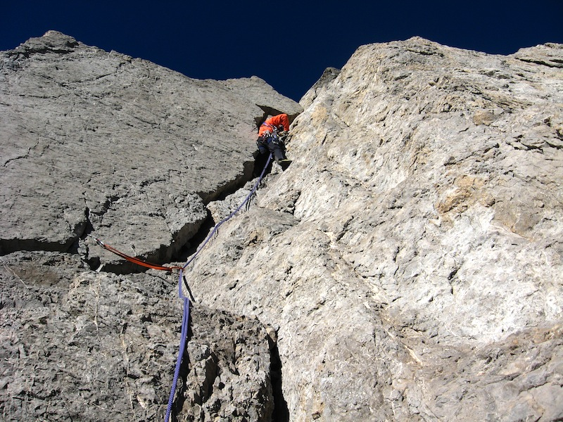 Fernando Fainberg on the last pitch of the first ascent of Chimbote.