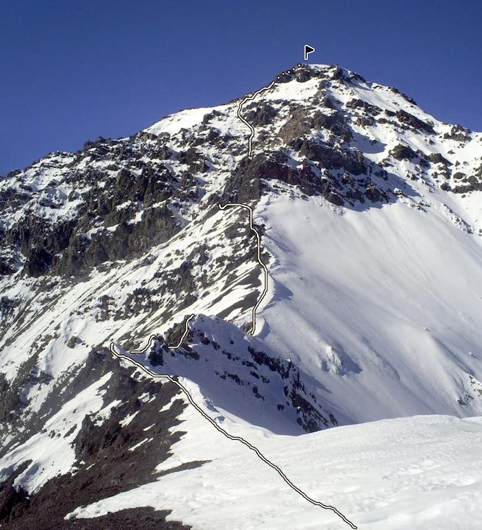 The Southwest Ridge route on Cerro Palo Plantado.