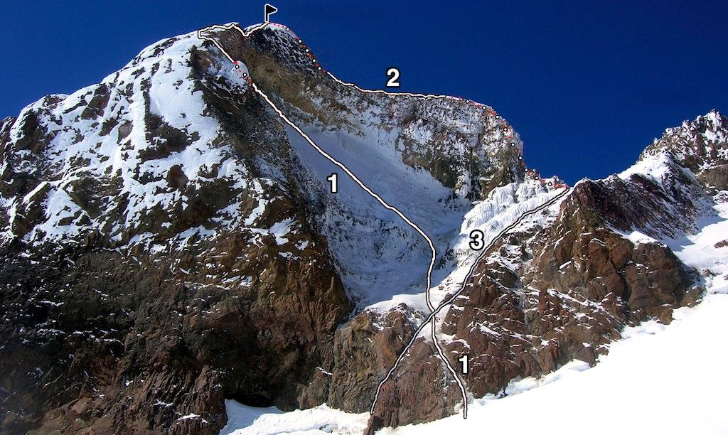 Pico Internacional, the highest of Cerro Tronador's summits, with (1) Finito Sur. (2) Clausen (normal) Route. (3) Jeneración Descartable variation.