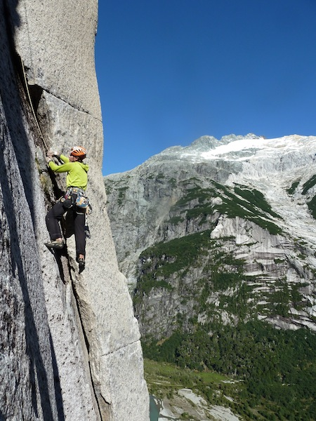 Josh Garrison attempting a new route on El Diente, in the Mariposa Valley.