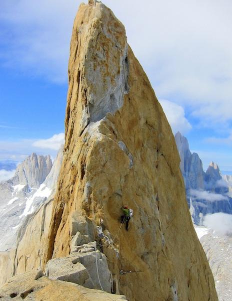 Scott Bennett negotiates a gendarme between the summits of Cerro Pollone.