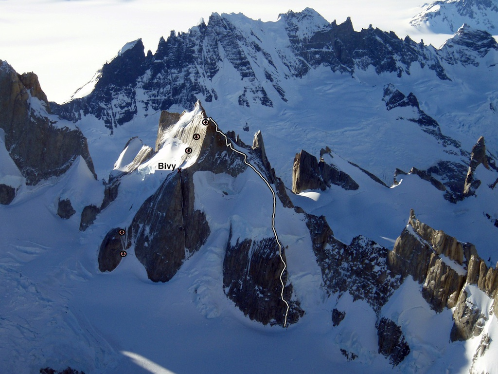 Re Puesto!, the route of first ascent on Cerro Pollone's eastern summit.