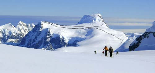 On the approach to Mt. Shackleton, with Mt. Cloos behind. Marked is the route followed to both south and main summits by the Alpine Club party a month prior to this photo being taken.