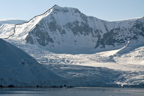 False Shackleton from the northwest, showing the route up the north face and east ridge.