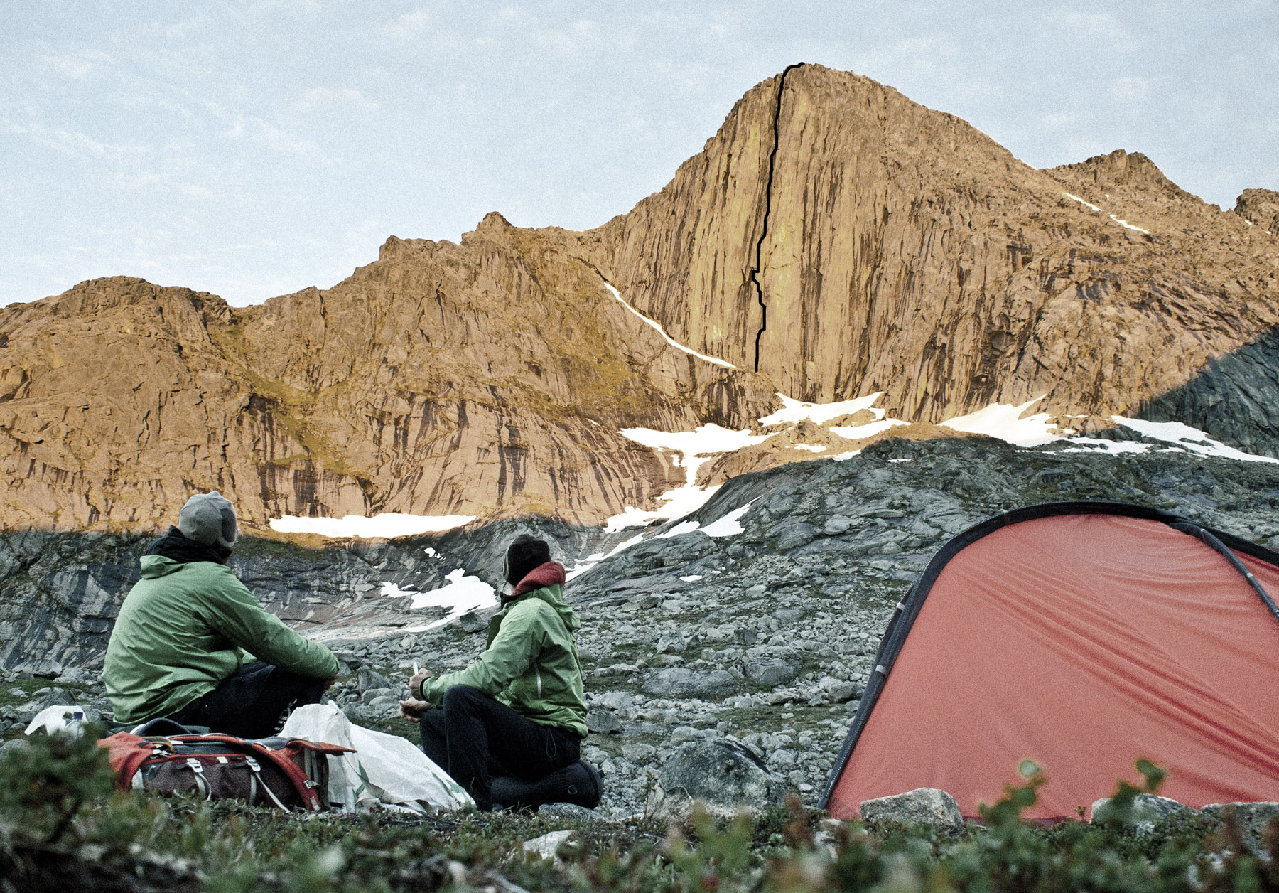 Auer and Mayr gaze at the north face of Blammanen. Their new route, Tingeling, is marked, but for more lines on this wall see AAJ 2009 p. 226.