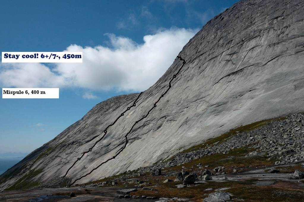South face of Rundtinden. Mispule (left) and Stay Cool, with belay points marked.