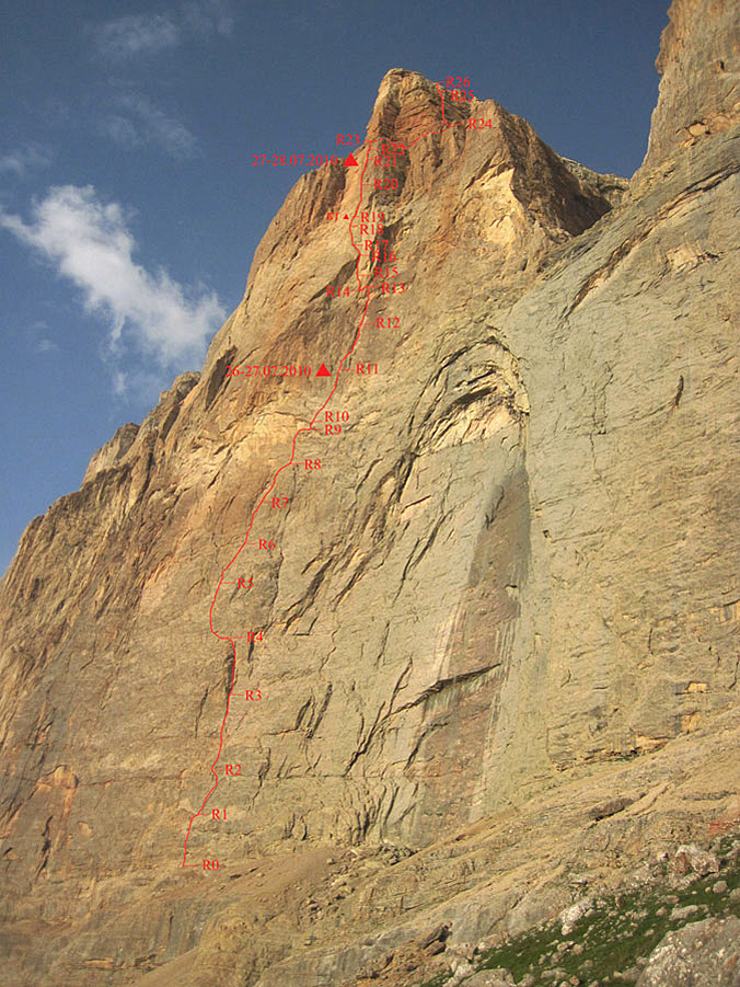 Central buttress of Erydag Northwest showing Voronin Route.