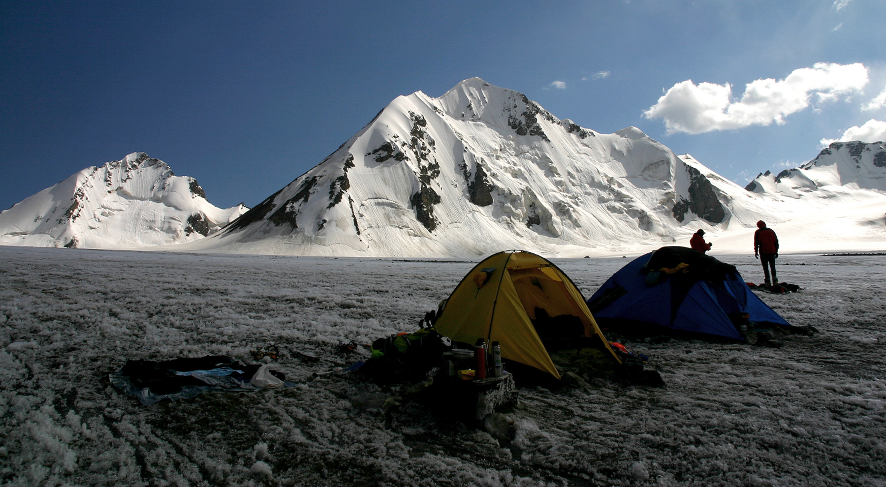 The north side of Night Butterfly (right) and Pik Uigur from advanced base on the Dzhirnagaktu Glacier.