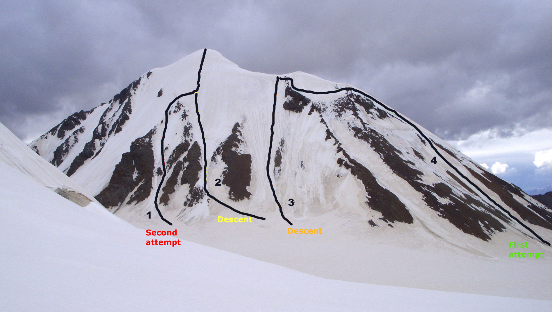 Night Butterfly from the south, showing (1) south face ascent and (2) descent. (3) is the descent used after the failed attempt (4) by the east ridge.