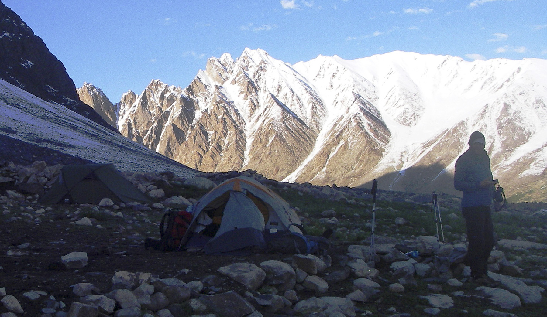 Koh-e-Khar from the vicinity of Uween-e-Sar to the south. The route of ascent followed the skyline ridge from right to left to reach the twin summits directly above the tent.
