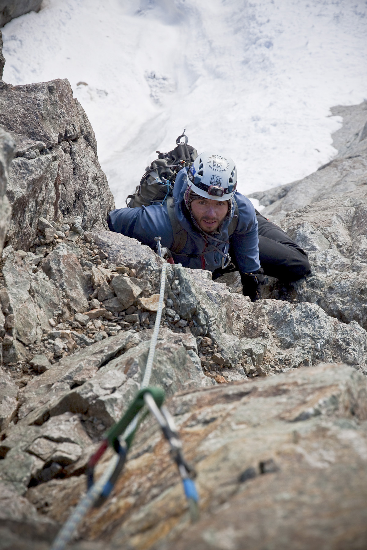Tomek Klimczak following a rock section during the ascent of Ursa Major to the summit ridge of Peak 5,625m.