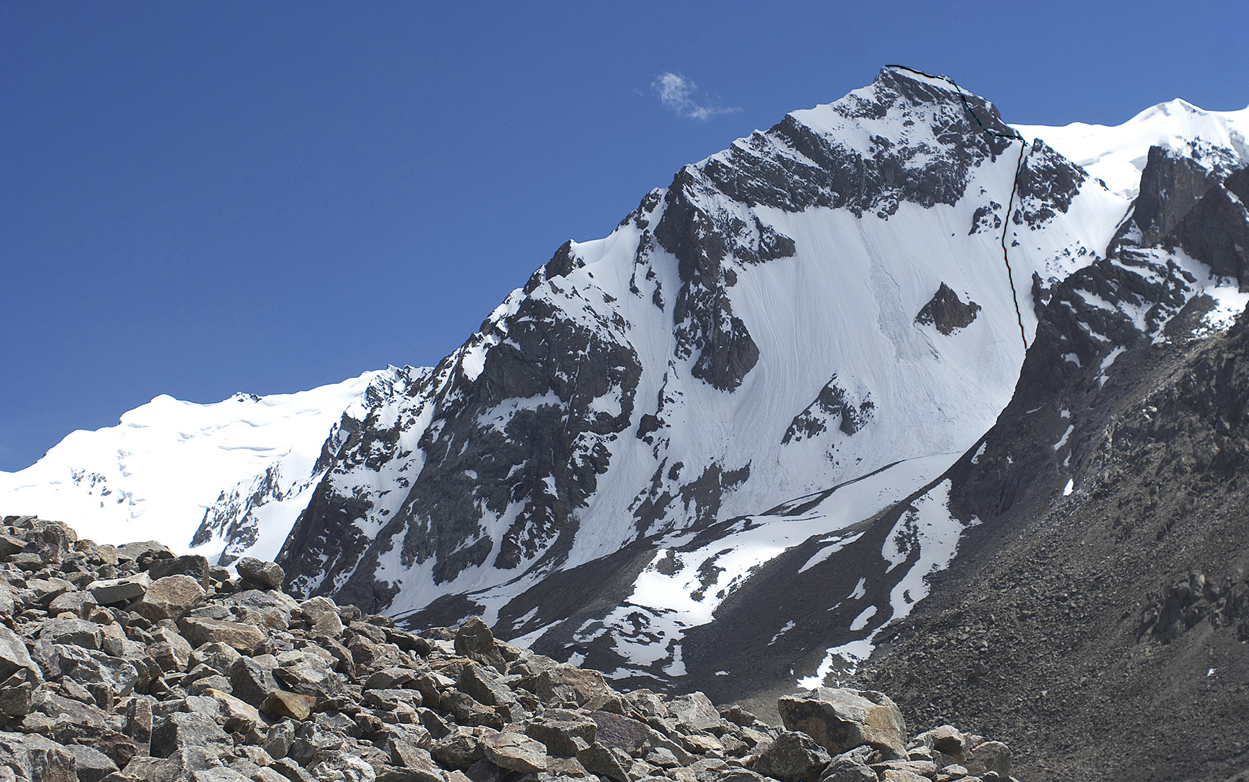 Koh-e-Atram from the Polish Glacier showing first ascent via north face and northwest ridge.