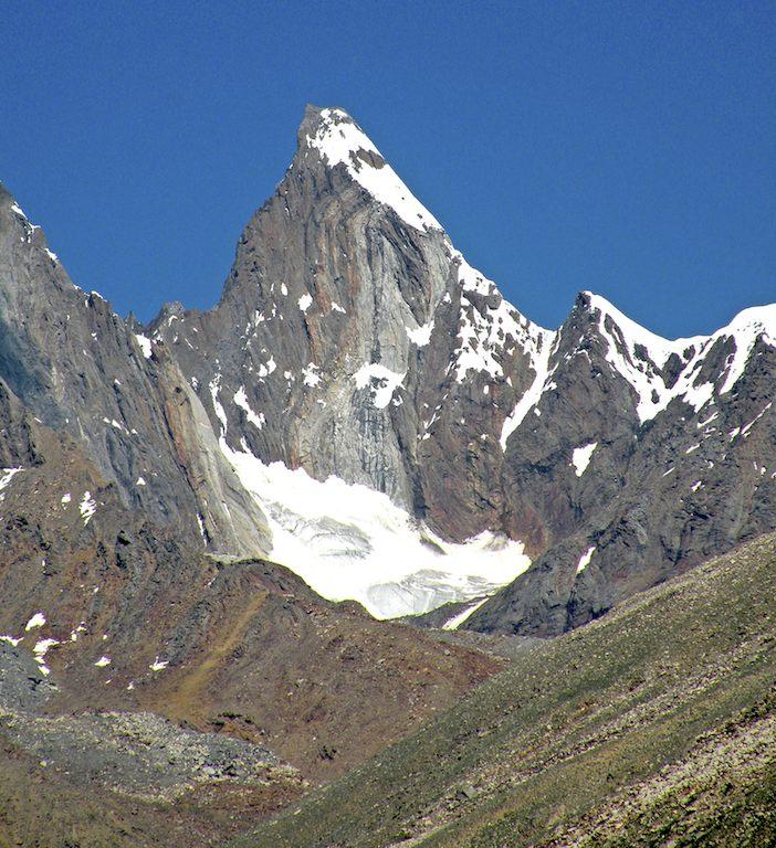 Unclimbed rock peak of 5,926m on east rim of Shafat Glacier. Harish Kapadia