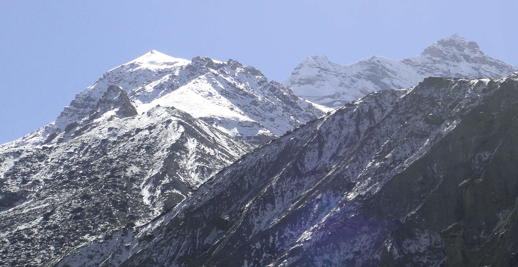 Seen from north-northwest, Snaght Kang (left), and in distant right unclimbed Peak 6,091m. Jeremy Windsor
