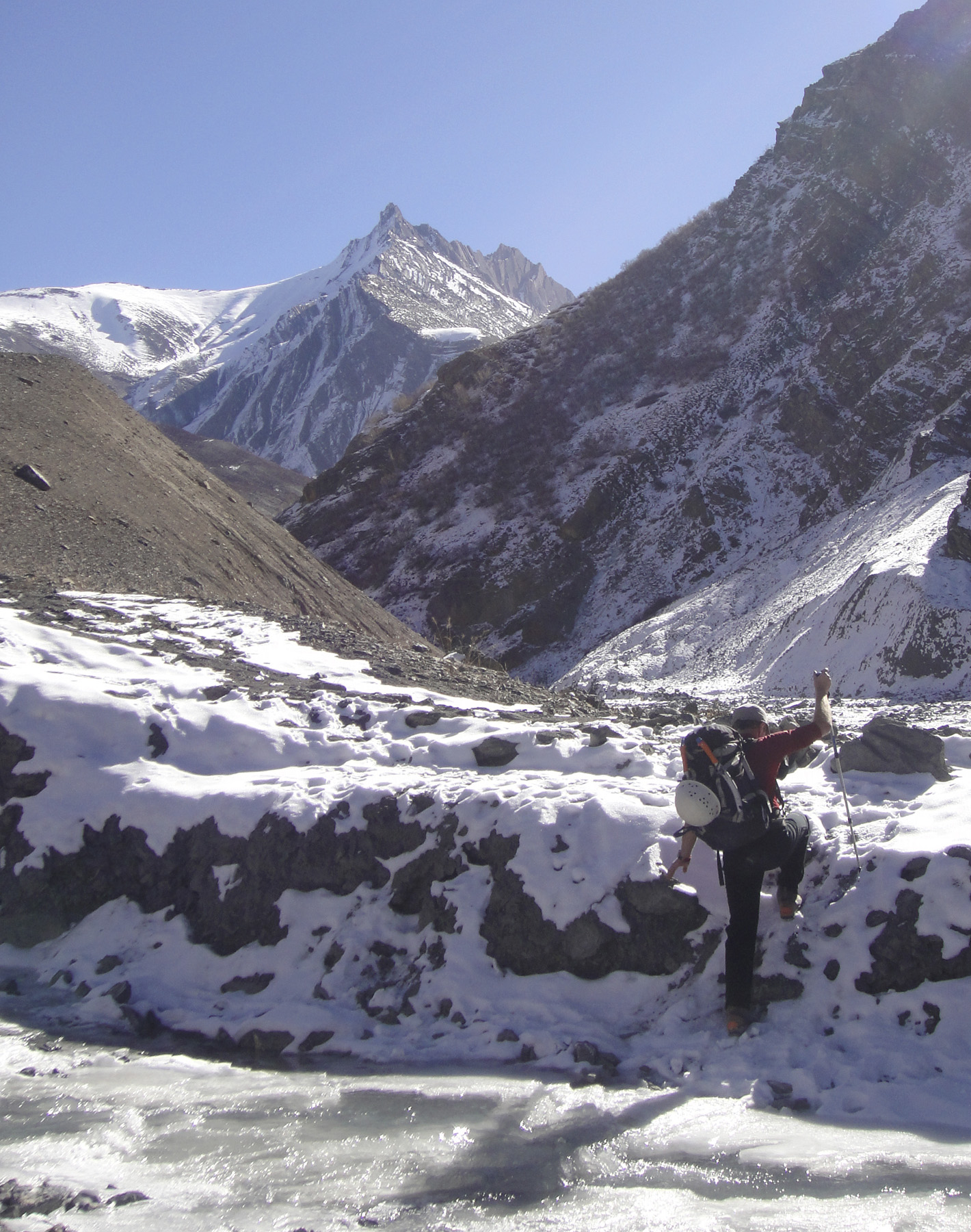 Unclimbed Peak 5,796m on the north rim of the Singekang Valley opposite Snaght Kang. It was named Lynam Peak, after the celebrated Irish mountaineer Joss Lynam. Jeremy Windsor
