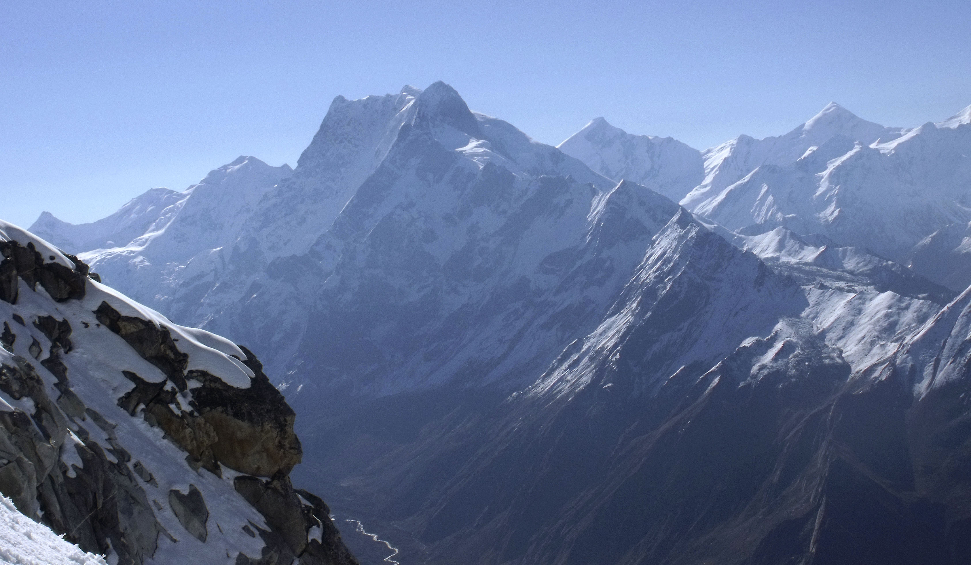 Unclimbed Peak 5,890m in Manindi Valley with the Swagorohini Group in the background. Jonathan Phillips