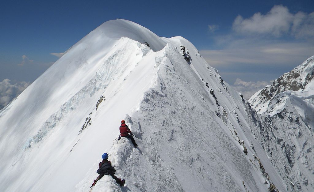 Final section of north-northeast ridge of Nanda Khat. Far right, in profile, is south ridge of Panwali Dwar (summit off picture to right). Dhruv Joshi