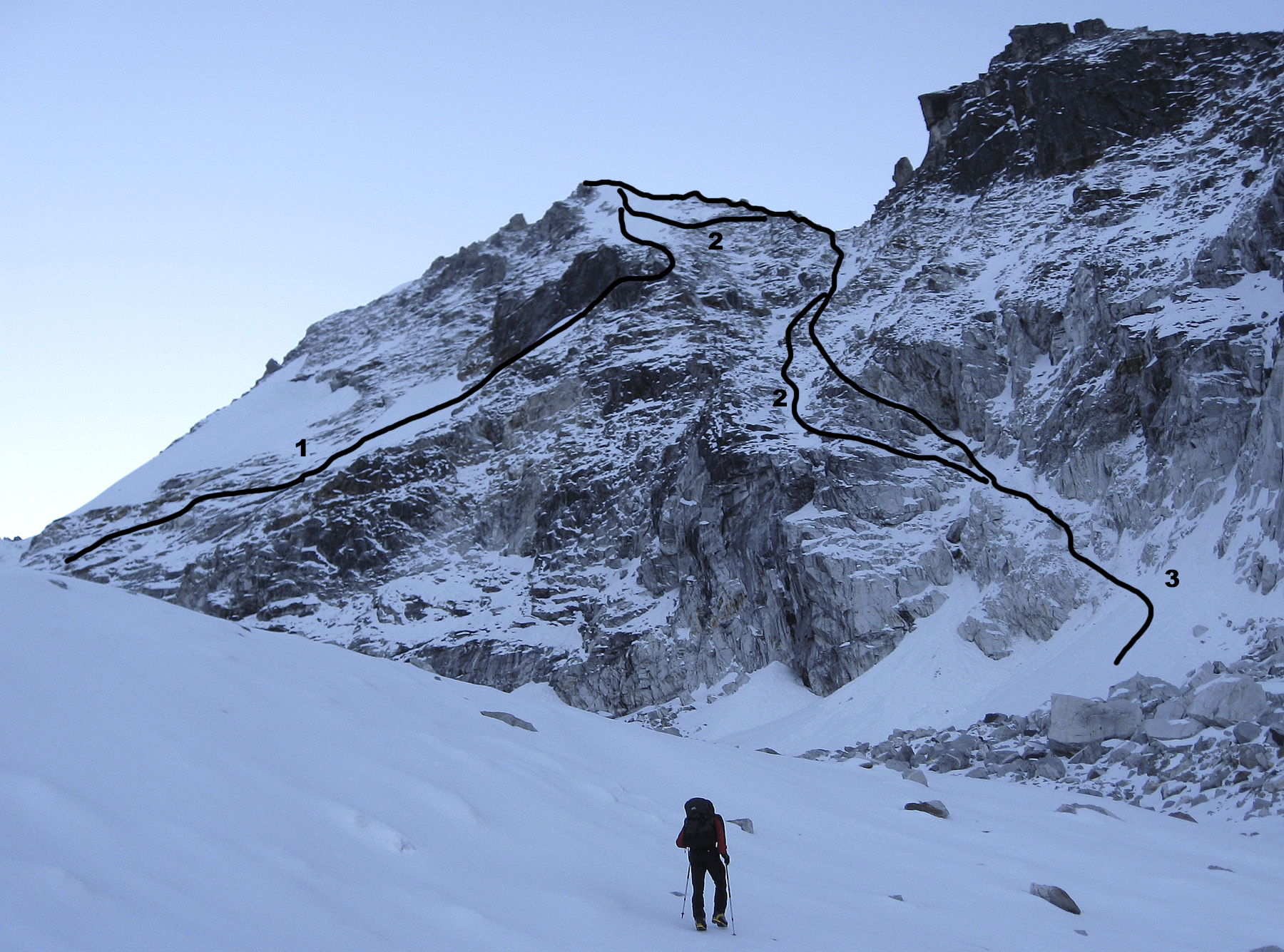 The west face of Lama Lamani. (1) 2005 Bhutia-Clyma-Payne-Rai route. (2) Cohen-Swienton. (3) Hamilton-Kennedy. The unclimbed south summit lies off picture to the right. Paul Swienton