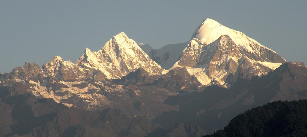Next peaks east of Kangto are Chomo II (left) and I. Harish Kapadia