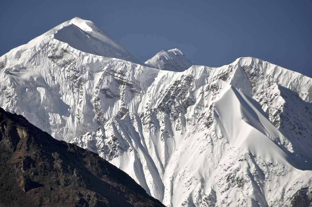 Northeast ridge of Saipal seen during the walk to base camp from Chala Village. High point on left Saipal East Humla: main summit in (right) background.