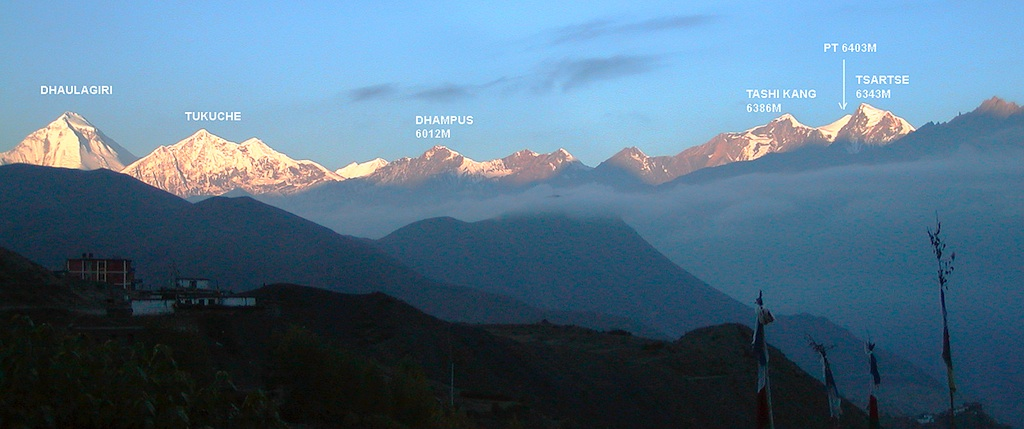 Dhaulagiri and Sandachhe Group of Mukat Himal from Muktinath.