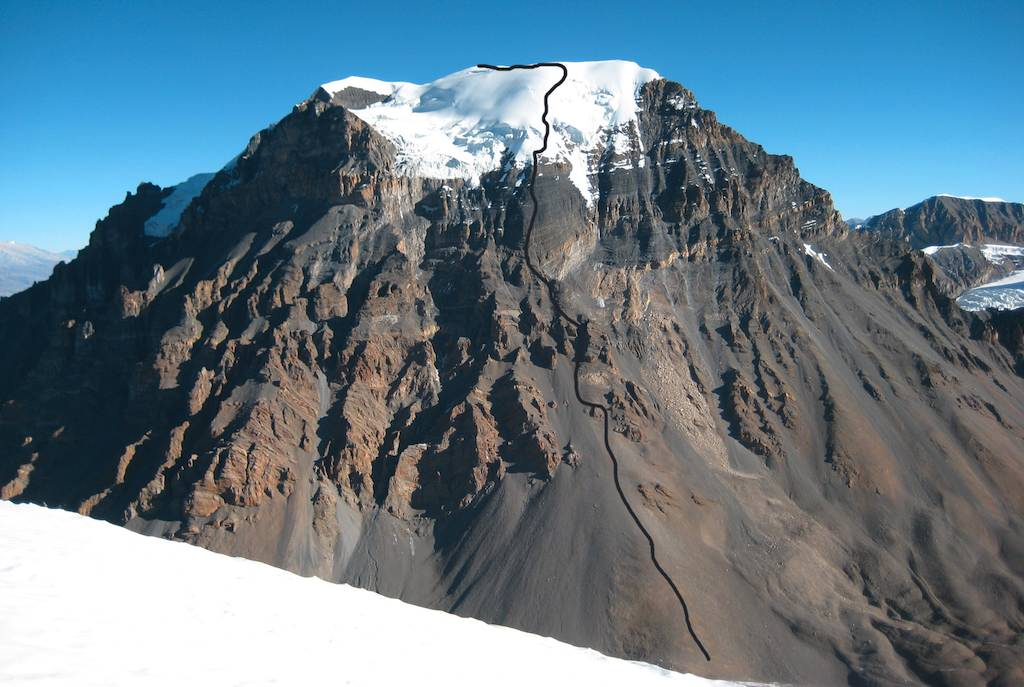 Yakawa Kang from southwest showing route of ascent. Thorung La is just below the bottom of the image.