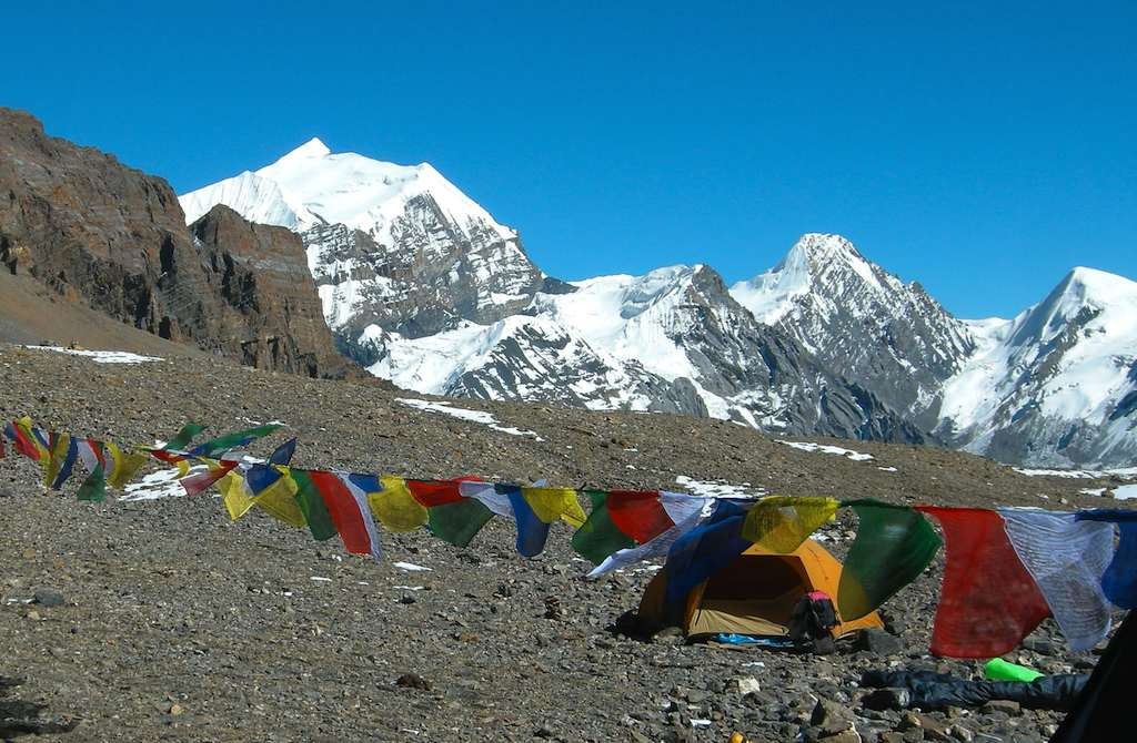 Looking northeast from base camp on the Thorung La. Pointed snow peak on left is Purkhang (6,126m, climbed once, in 2004 by west ridge). Behind and to right is Putrung (6,500m, unclimbed). Yakawa Kang is off picture left.