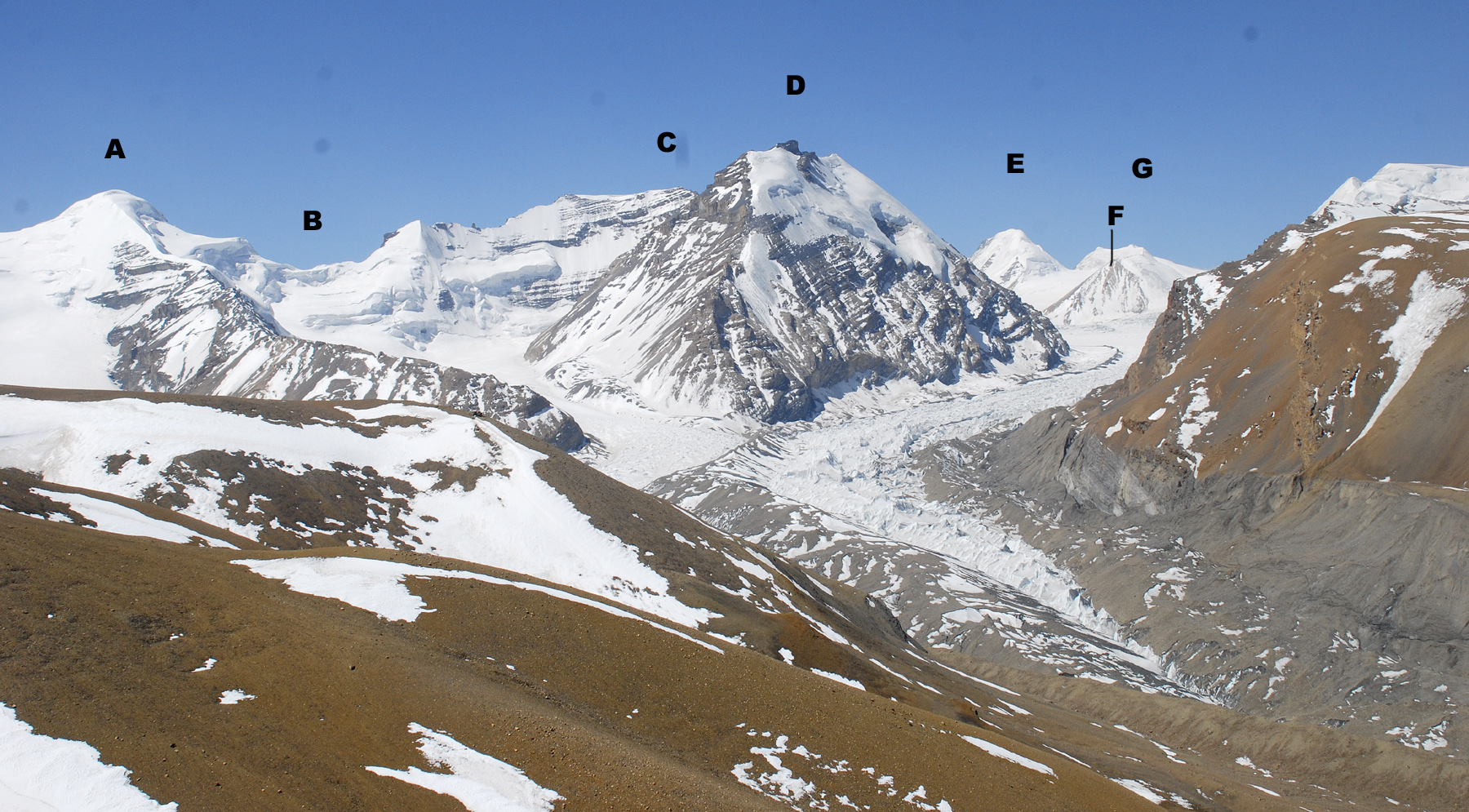 Peaks west of Bhrikuti seen from the northeast. (A) Shelka Kangri (6,358m). (B) 6,118m pass. (C) Kumlun Himal (6,365m). (D) Unnamed (two summits; Northeast, 6,378m, and Southwest 6,380m. This is more a shoulder of Kumlun than an separate peak as would appear in this photo. It was attempted from the west by Paulo Grobel, who reports the rock to be atrocious.). (E) Pt. 6,505m. (F) Belvédère d'Alfred (6,226m). (G) Pt 6,420m (possibly climbed by a French ski team).