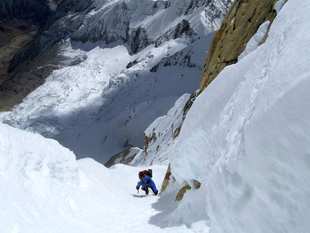 Meegdenburg near the top of the south-southeast face of Singu Chuli. West Annapurna Glacier below.