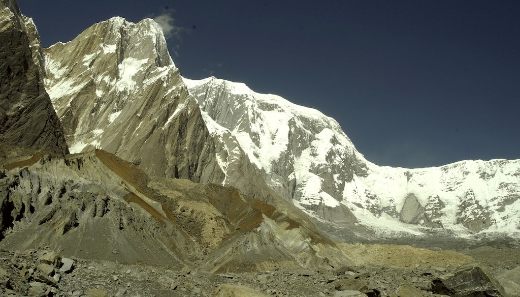 The long, snowy east ridge of Annapurna III, with the southeast pillar in profile to the left.