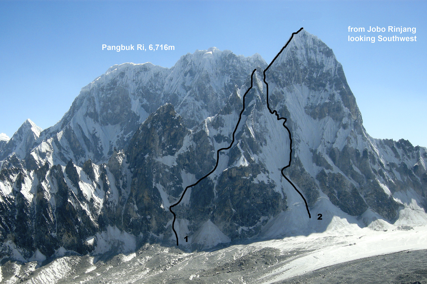 Looking southwest from Jobo Rinjang at Jobo LeCoultre. (1) 2010 attempt, which stopped on the southeast ridge at ca 6,200m. (2) 2009 line claimed by French-Nepal-Swiss team (summit reached by Carrad, Haeni, Schaffter, and Vallot).