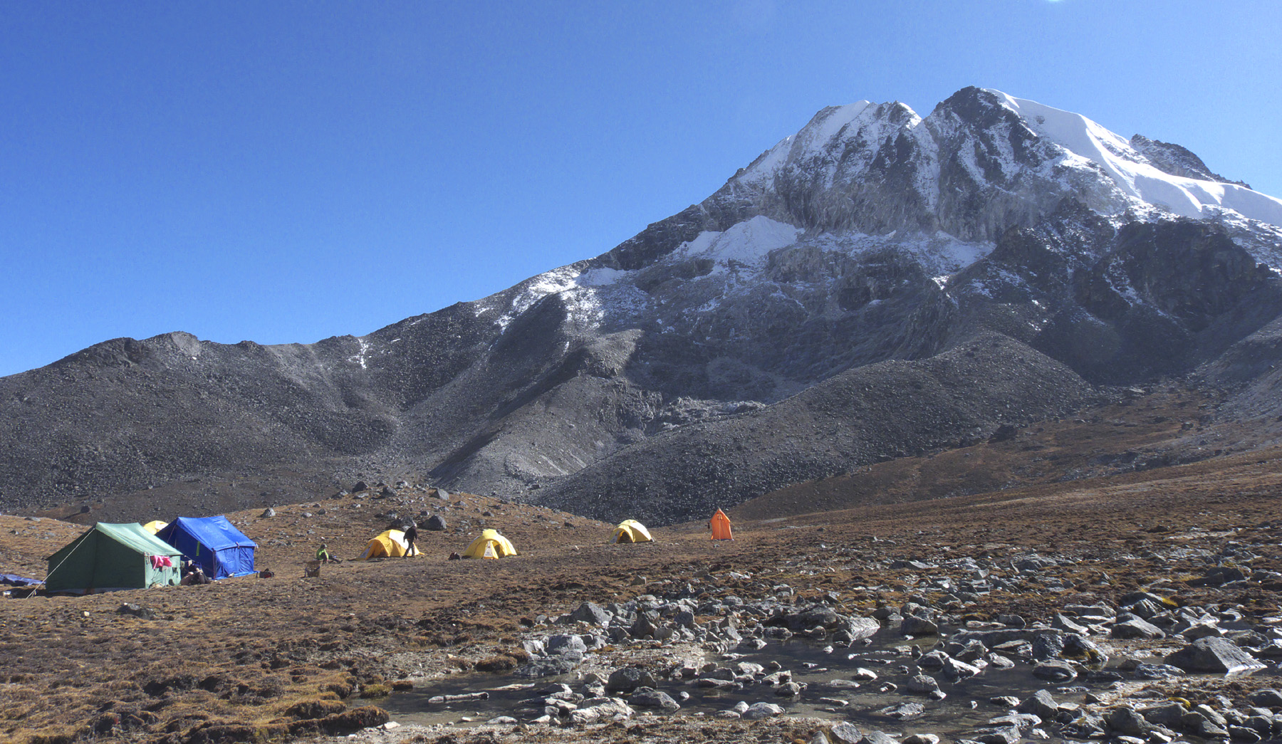 Base camp at ca 5,200m and Peak 5,777m traversed from right to left.