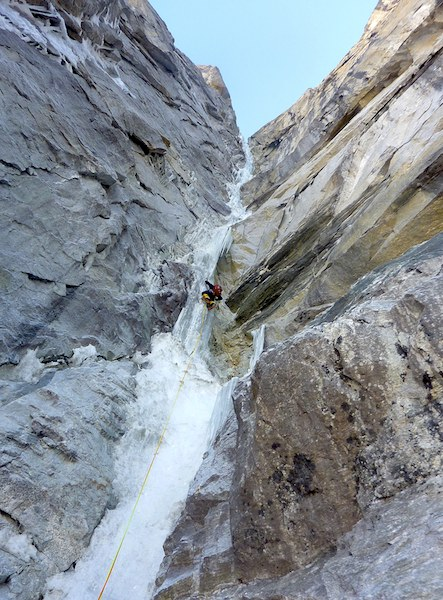 Jared Vilhauer climbs a long, delicate pitch of WI5+ on Night Terror.