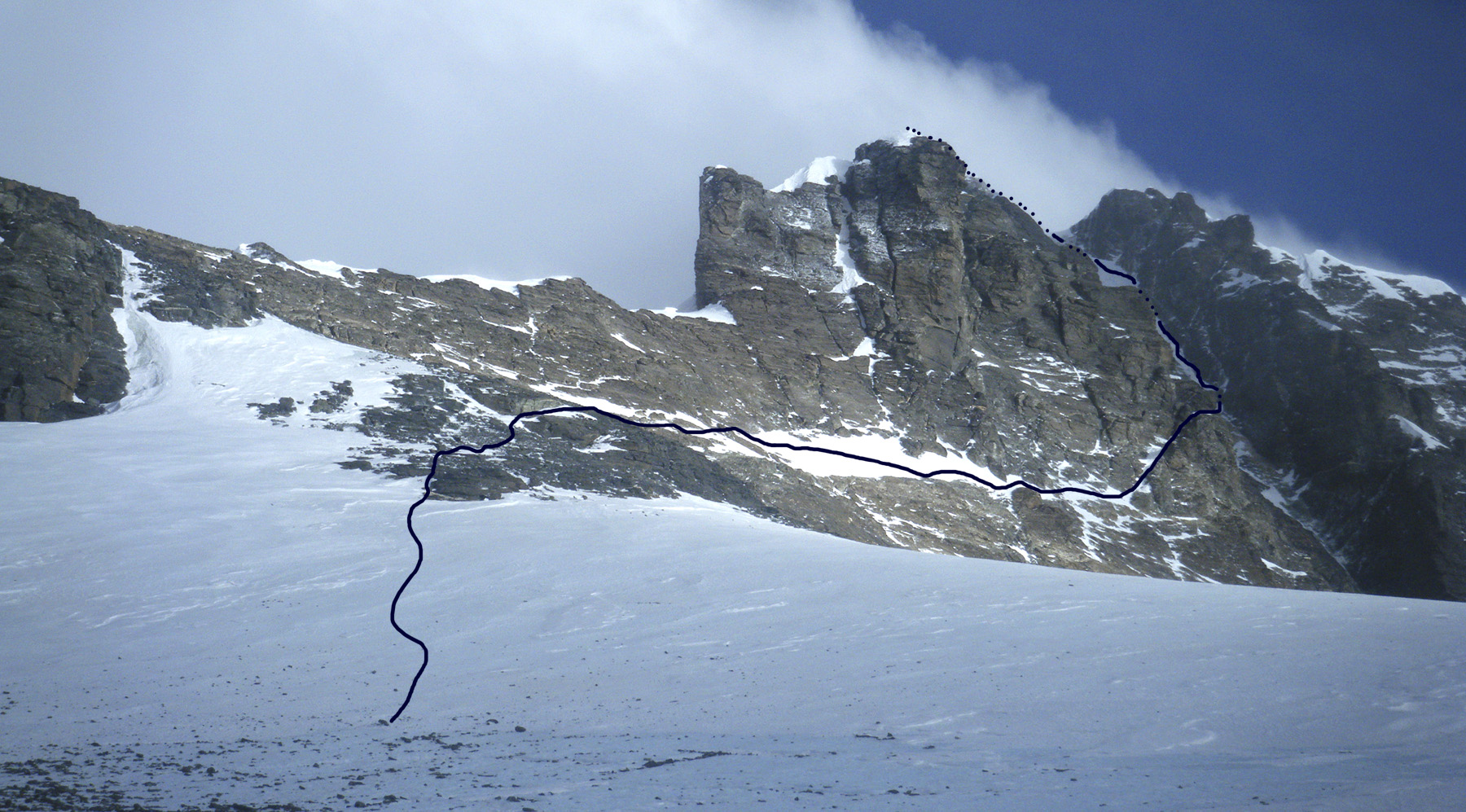 Lhotse from the South Col, showing Urubko's route across west face.