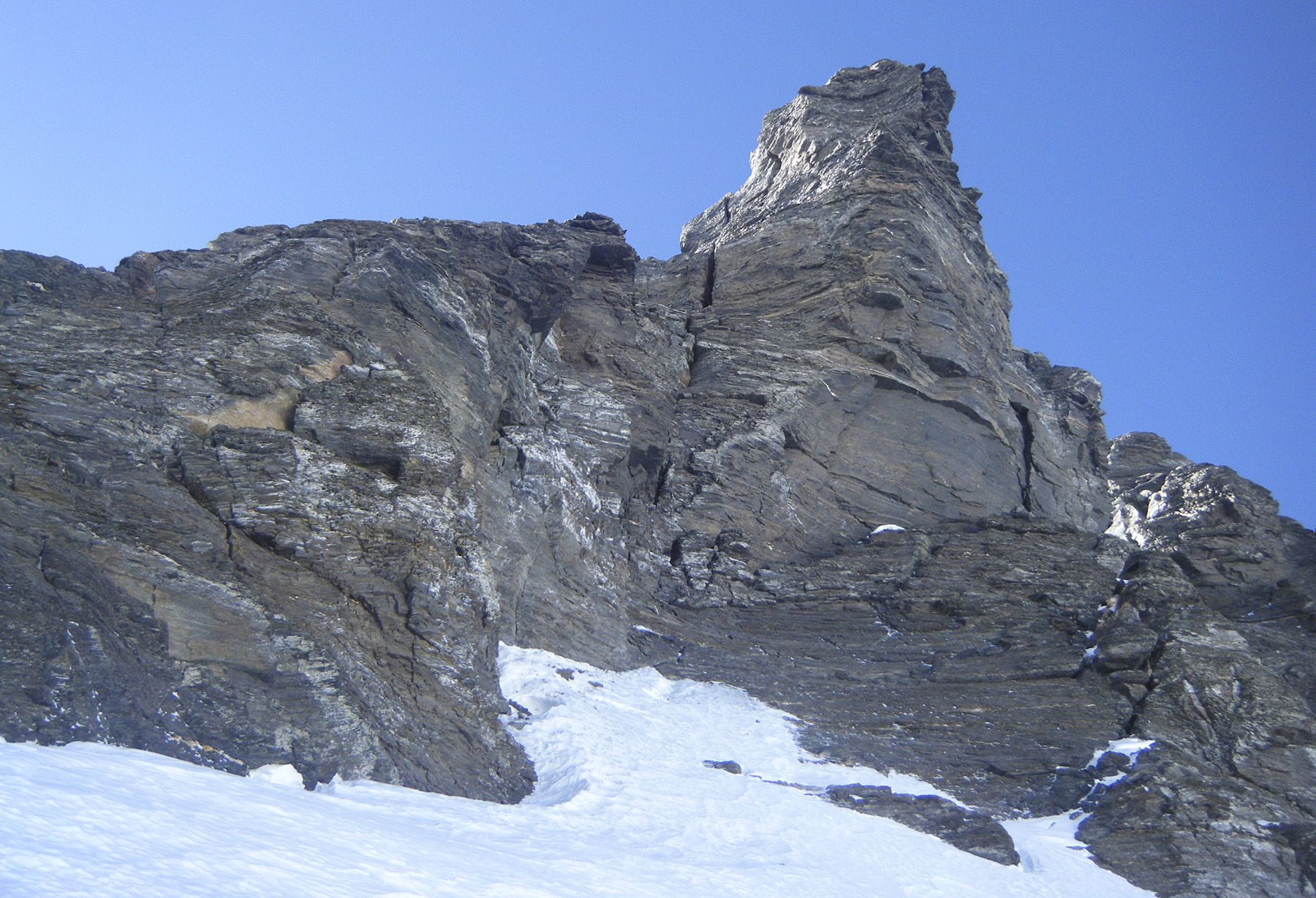 Final buttress on the north ridge of Lhotse seen during Urubko's high traverse across west flank. The summit lies more or less directly above.