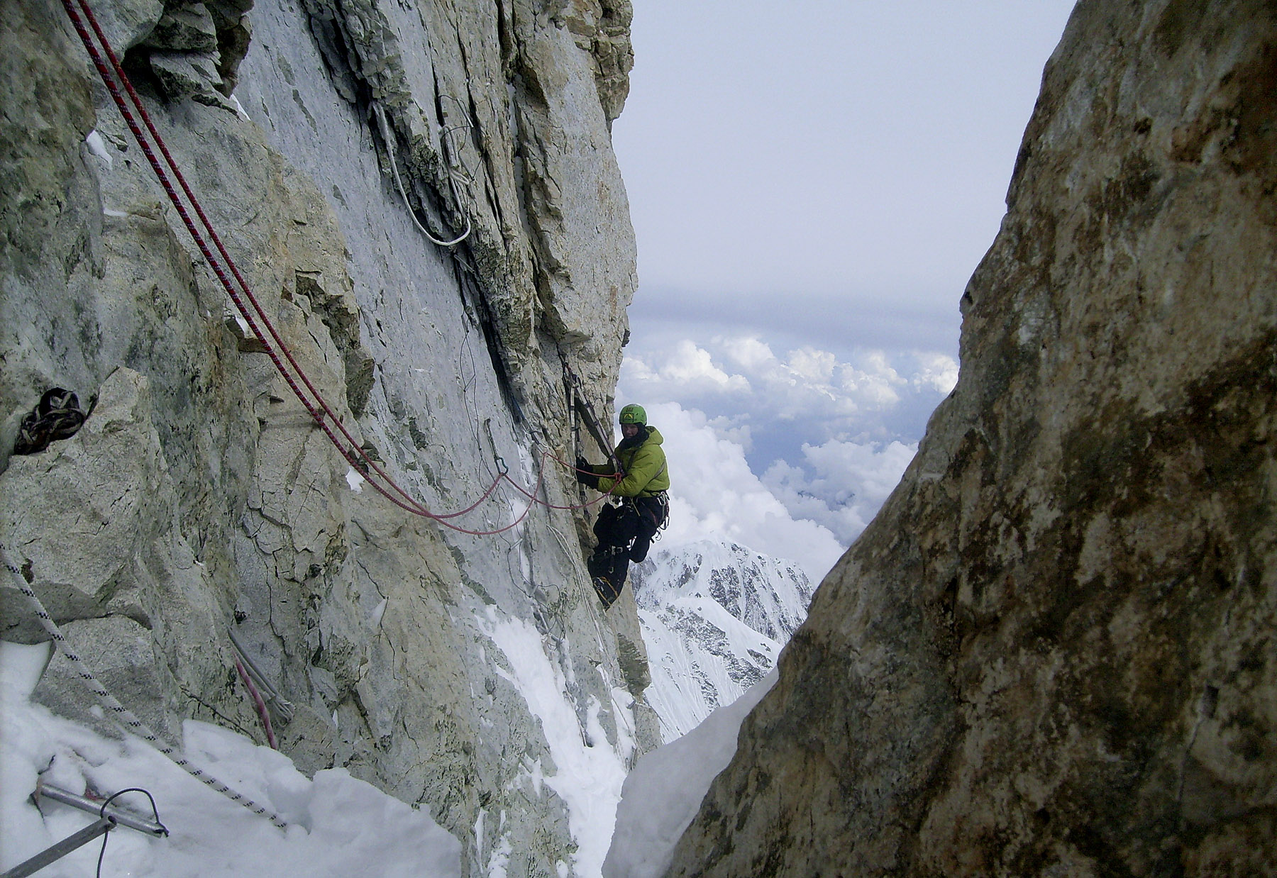 Near the end of the crux pitch at 7,700m on Makalu's French Ridge.