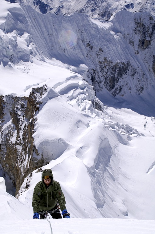 Dave Barton high on the southwest ridge of Pabuk Kang.