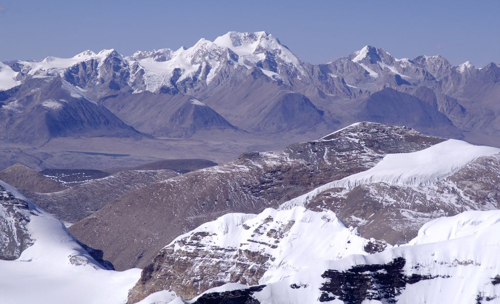 Looking northwest into Tibet from the summit of Pabuk Kang. In the background is the Nyonni Ri Group visited by the 1935 Everest expedition. Photographs from that time show the right-hand peak and its glaciers. Not surprisingly, these glaciers are now considerably smaller.