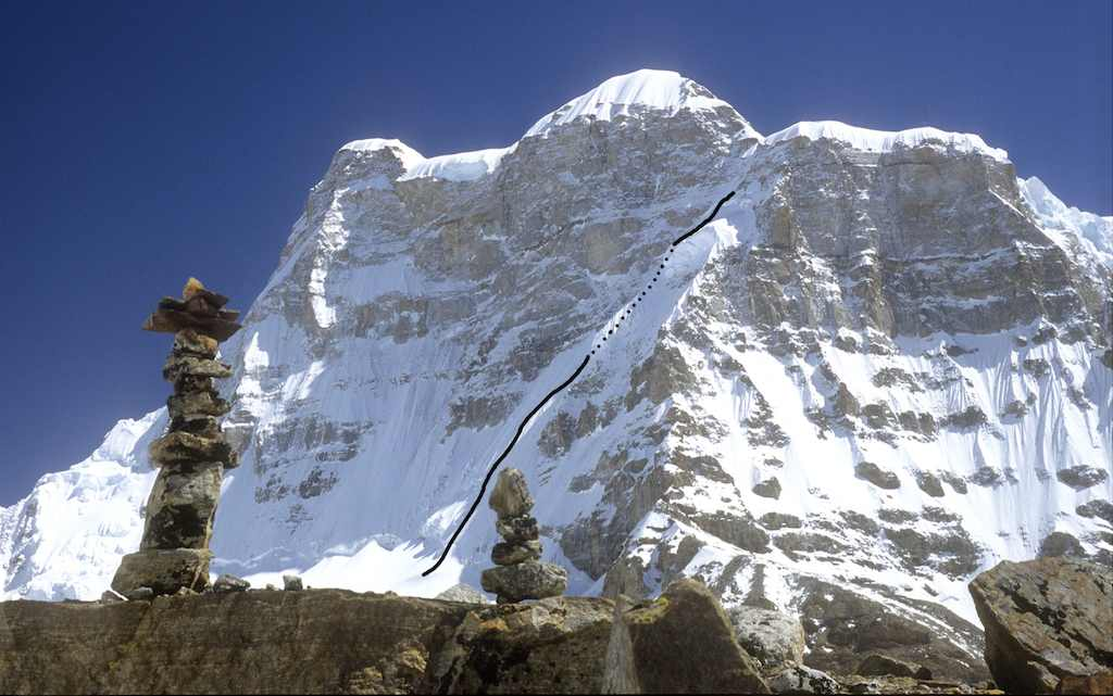 Janak from the upper Broken Glacier to the southeast. The route attempted by the Japanese on the south face is marked. The left skyline, leading directly to the 7,041m main summit, is the southwest pillar, climbed in 2006 by Andrej Stremfelj and Rok Zalokar, to make the first ascent of the mountain.