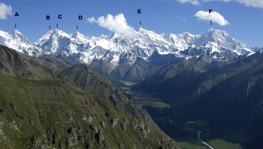 North side of Xuelian Massif seen from above Xiate on approach. (A) Khanjaylak I (5,424m). (B) Sulamar (a.k.a. Khanjaylak II, 5,380m). (C) Xuelian Northeast (6,231m). (D) Xuelian East (ca 6,400m). (E) Xuelian Main (6,627m). (F) Xuelian West (6,422m).