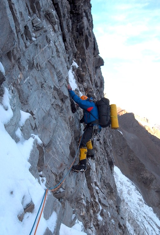 Paul Ramsden leading lower section of Sulamar north buttress during the first day of ascent.