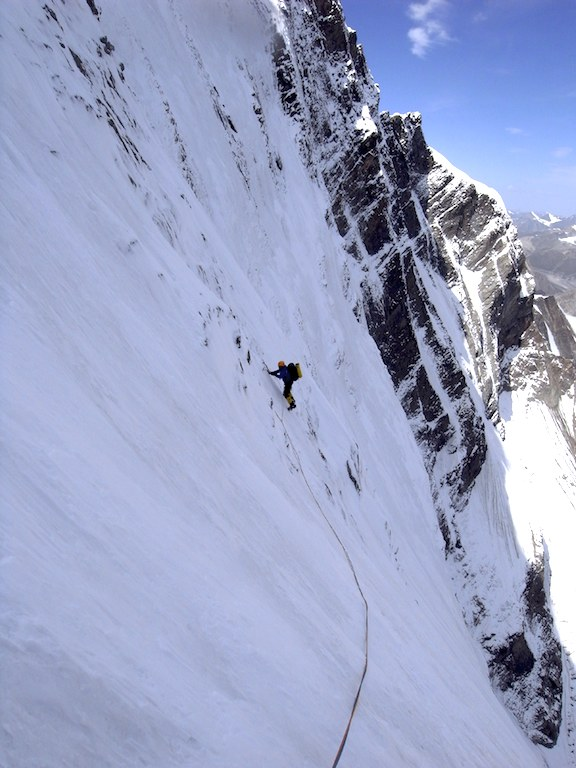 Paul Ramsden on upper section of Sulamar north buttress during second day of ascent.