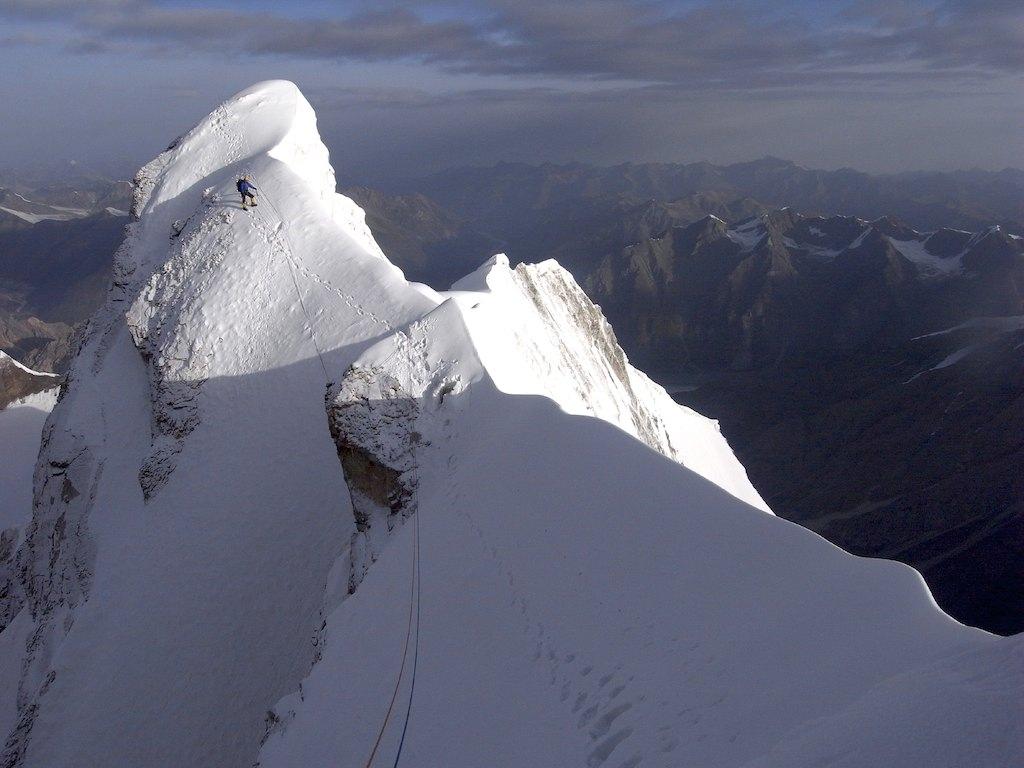 Ramsden on Sulamar's summit ridge after climbing north buttress.