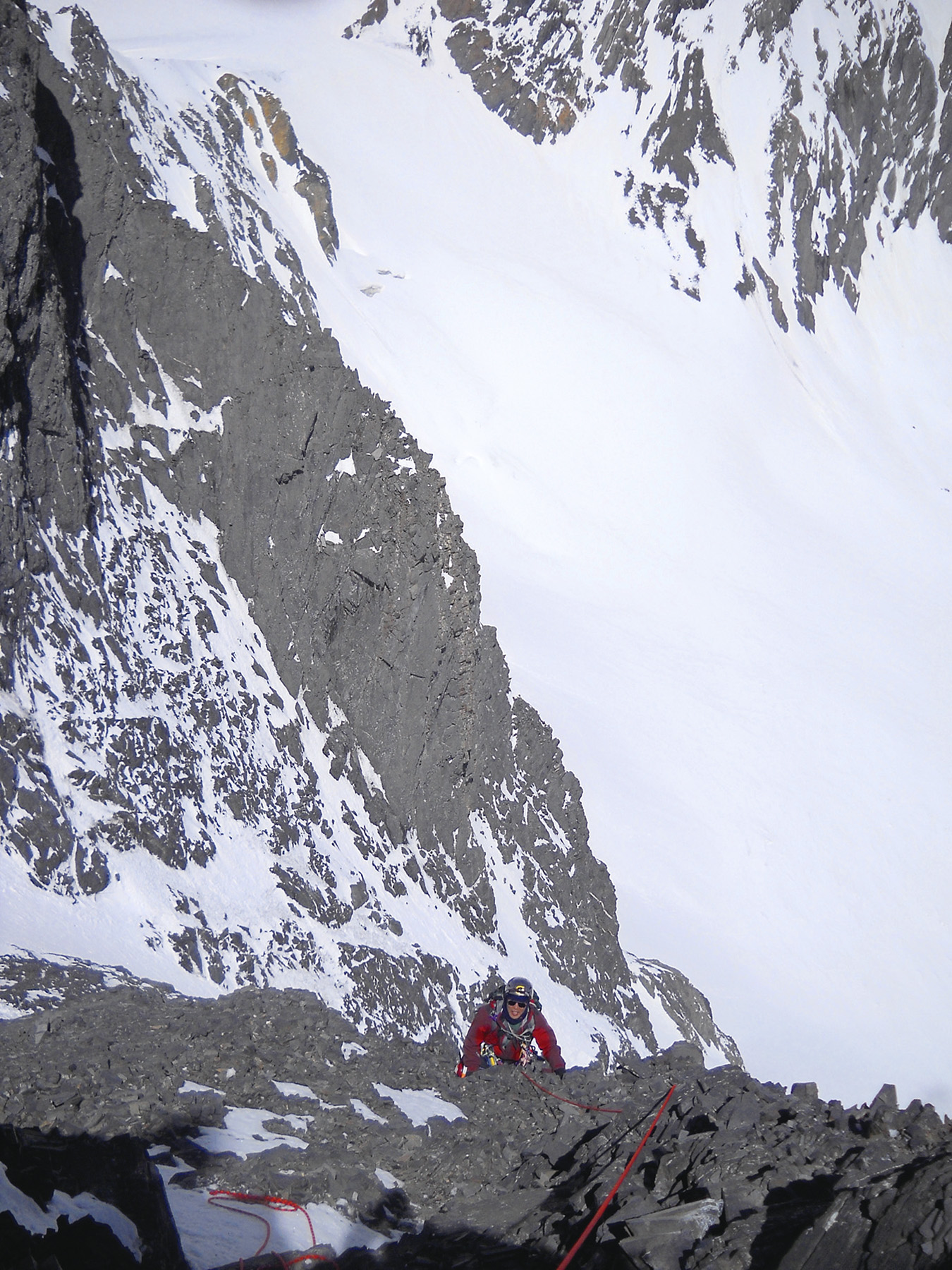On the summit headwall of the northeast face.