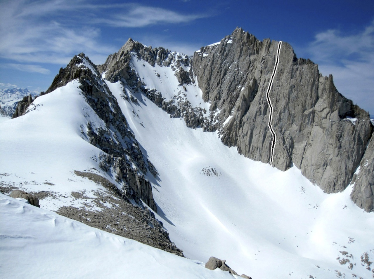 The south face of Bear Creek Spire, showing Jamaica Say You Will.