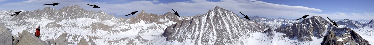 The Evolution Traverse follows the ridge and tags all the summits. The photo is taken from the summit of Mt. Huxley.